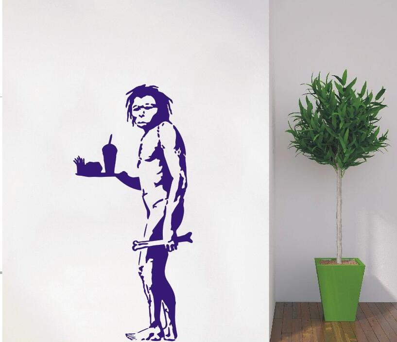 Wall Decal Vinyl Sticker Banksy Star Caveman With Fries Art Home Home Design Decoration Removable Wall Paper Mural Poster WW-415