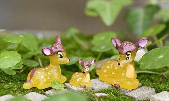 Moss Succulent Microlandscape Plant Crafts DIY Mini Fawn Animal Pose Home Design Home Decor
