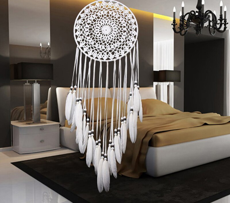 Dream Catcher With Rattan Bead Feathers Handmade Wall Car Hanging Decoration Ornament Dreamcatcher Home Design
