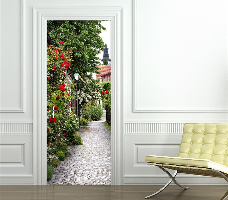 Flower Door Mural Removable Wallpaper DIY Sticker for Doors Livingroom Bedroom Home Design Self-adhesive Waterproof Decals Decor