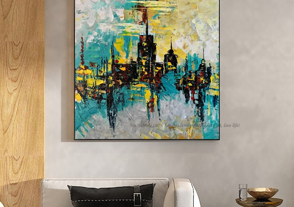 Modern city scenery pictures fashion home design vintage canvas painting handmade large canvas art for living room one piece art