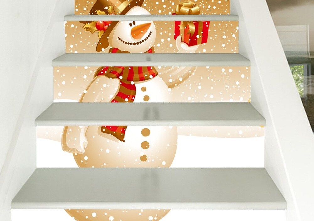 Cute Snowman Gifts 3D Stair Stickers DIY Self-adhesive Home Design Decor Floor Decals Murals Living Room PVC Staircase Wallpaper