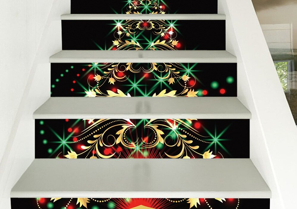 Sparkling Christmas Tree 3D Stair Stickers DIY Self-adhesive Home Design Floor Decals Murals Living Room PVC Wallpaper Kids Gift