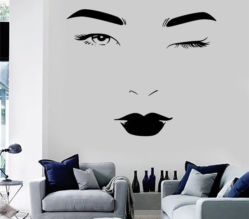 Beauty Face Vinyl Wall Stickers Spa Salon Fashion Woman Sticker Home Design Wall Decal New Arrivals Wallpaper Mural