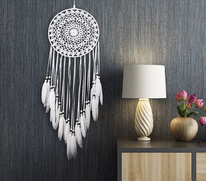 Ornament Dreamcatcher Home Design Handmade Dream Catcher With Rattan Bead Feathers Wall Car Hanging Decoration