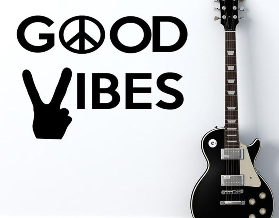 Good Vibes Wall Decal Gesture Piece Sign Quotes Vinyl Wall Sticker Hippie Decals Bedroom Office Home Design Decoration S822