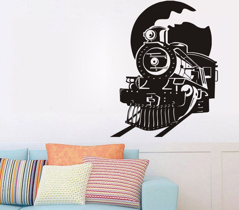 Steam Train and Moon Wall Stickers Decor Beautiful Bedroom Art Vinyl Wall Decal Removable Home Design Wallpaper Mural  SA557