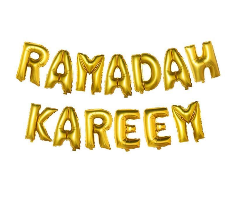RAMADAN KAREEM EID MUBARAK Foil Letter Balloons Set For EID MUBARAK Holiday Party Muslim Eid Al-Fitr Ramadan Party Balls Supply