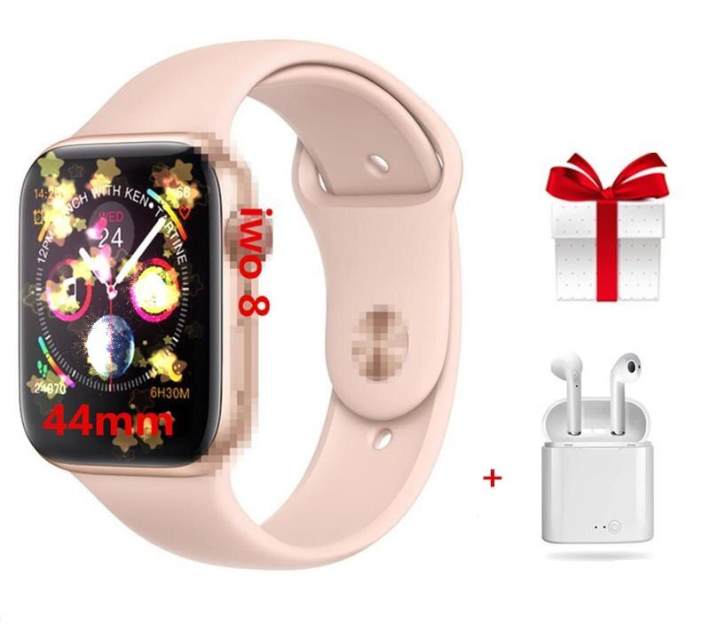 Smart Watch IWO 8+Earphone/Set Rose Gold Smart Watch Series 4 Heart Rate ECG Support Answer Call Notice SMS For Apple Android