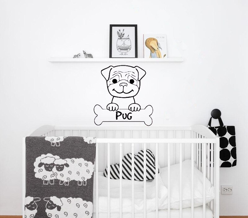Cute Pug Life Dog Puppy Wall Sticker For Kids Rooms Nontoxic PVC Decals Mural Home Design Decor Pattern Pet Animal Face LC061