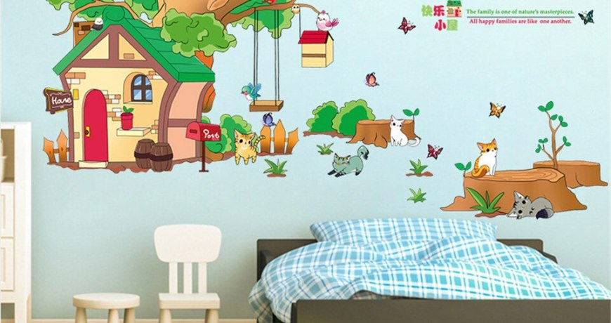60*90CM*2PCS Large Animals Tree House Wall Sticker for Kids Rooms Nursery DIY Art Mural Decals Home Design Removable Wallpapers