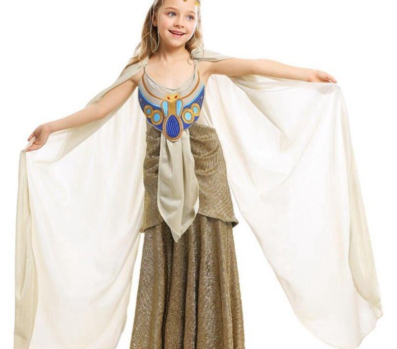 Halloween Girl Ancient Egypt Egyptian Pharaoh Cleopatra Princess Costume for Children Kids Cosplay Clothing