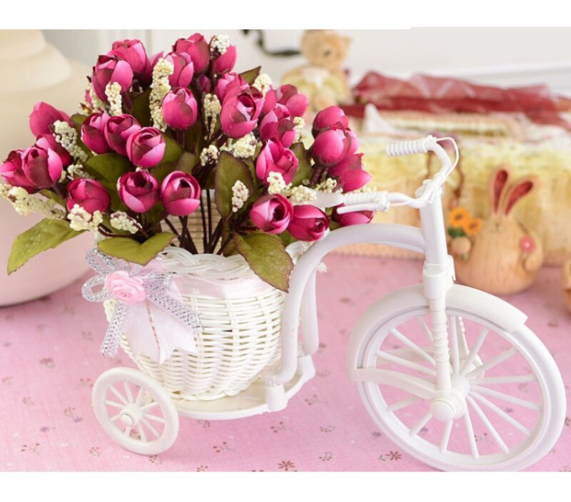 Bonsai Plastic Home Design Flower Bike For Decoration White Plant Container Basket Tricycle wedding
