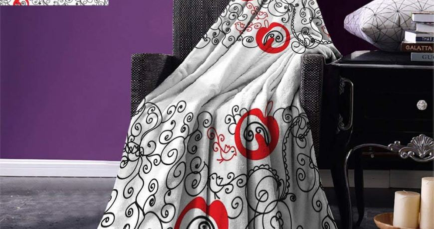 Red and Black Throw Blanket Minimalist Home Design Themed Sketchy Birds Swirls and Apple Shapes Warm Microfiber