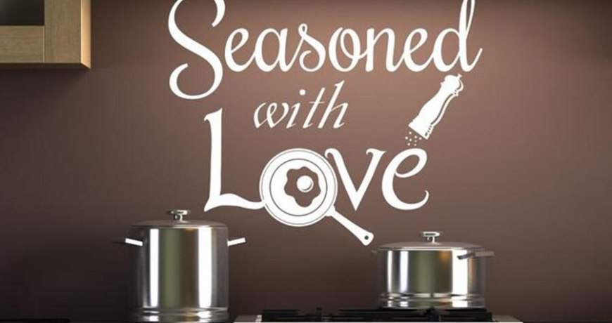 Kitchen Wall Decals Seasoned with Love Quotes Kitchen Home Design Decoration Vinyl Wall Sticker Creative Warm Mural Art S812