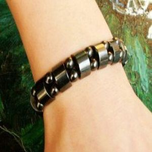 Weight Loss Round Black Stone Magnetic Therapy Bracelet For Women Men Health Care Magnetic Hematite Stretch Bracelets B3008.