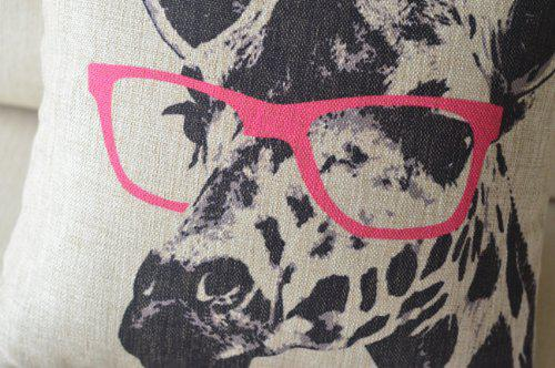 Animal Style Giraffe Pink Glasses Simple Home Design Throw Pillow Case Covers Square