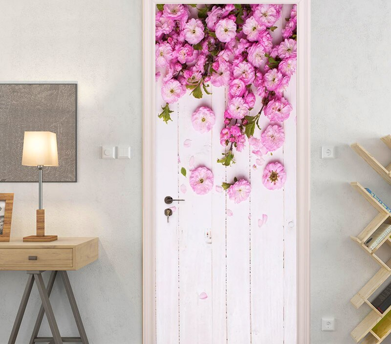 Decor Sticker Self Adhesive Bedroom Flowers Door Art Print Picture DIY Renovation Mural Waterproof Wallpaper New Home Design