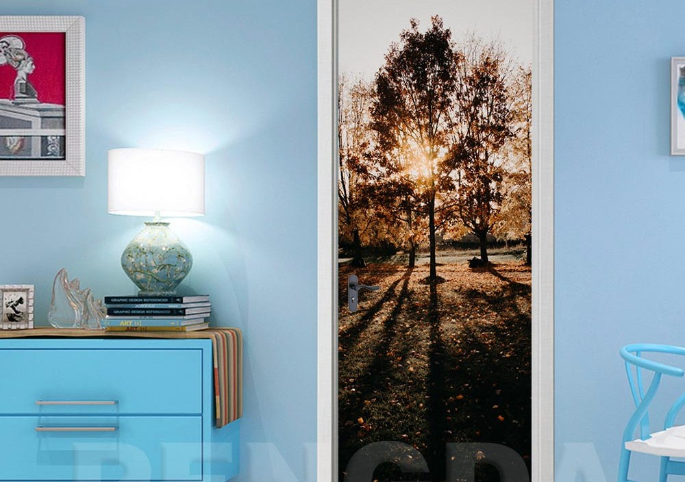 Decor Sticker Self Adhesive Bedroom Door Print Sunrise Landscape Picture DIY Renovation Mural Waterproof Wallpaper Home Design