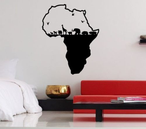 Hot Selling Vinyl Wall Stickers Decals Cool Africa Huge Continent Elephant Home Design Mural Interior Creative Decorative LA720