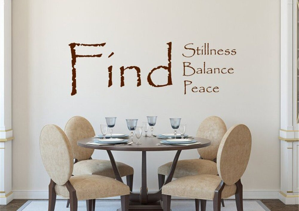 JOYRESIDE Find Stillness Balance Peace Wall Sticker Decals Vinyl Interior Decor Yoga Gym Living room Home Design Art Mural A1261