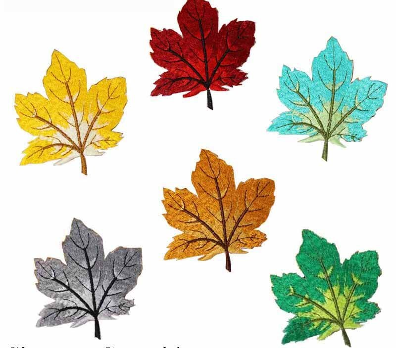 Maple leaves embroidery patch 6.98 wide free shipping/home design/jacket patch/ironing on