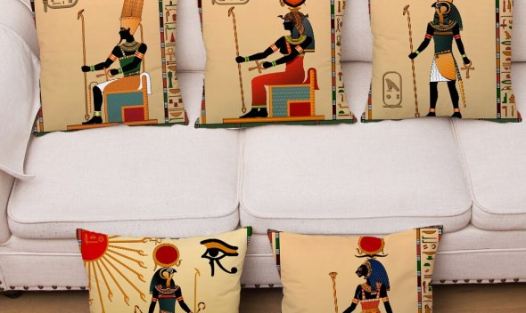 Ancient Egypt Totem Pharaoh Print Cushion Cover Super Soft Plush Pillowcase 45*45cm Pillows Covers Sofa Home Decor Pillow Case