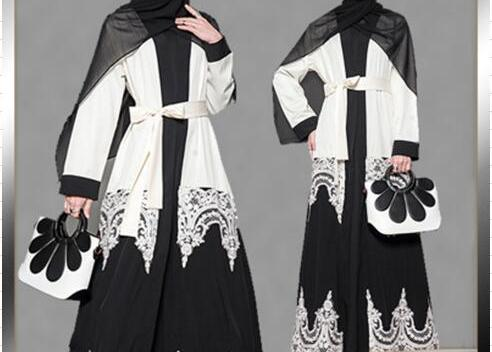 Ramadan Islamic Women Fashion Black And White Patchwork Embroidery Lace Hollow Out Open Abayas Caftan Kaftan Muslim Plus Size
