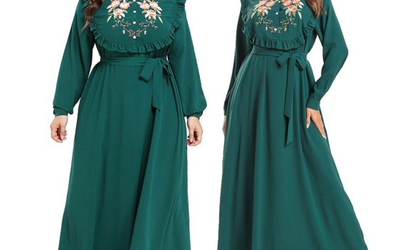 Ramadan Abaya Women Embroidery Long Dress Button Abaya Maxi Party Kaftan Islamic O-neck Ruffle With Belt Long Sleeve Loose New