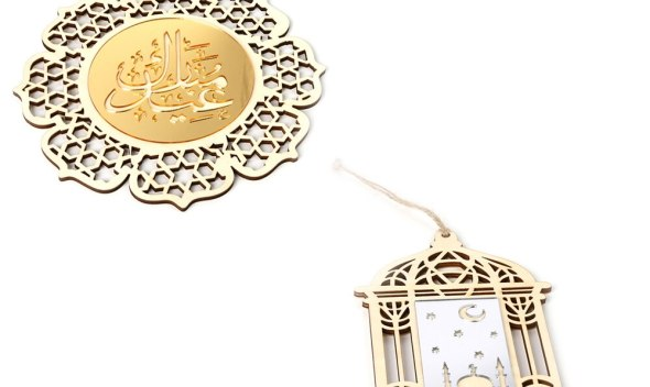 Ramadan Wooden Eid Mubarak Decoration For Home Moon Islam Mosque Muslim Wooden Plaque Hanging Pendant Festival Party Supplies