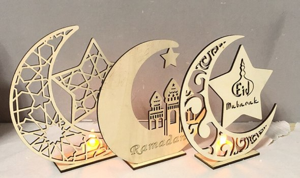 Ramadan Eid muslim Festival wooden decorations home decor laser cutting