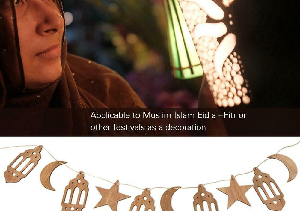 Ramadan Wooden Eid Mubarak Decoration Hanging Pendant Moon Lantern Star Crafts For Home Moon Islam Mosque Muslim Party Supplies