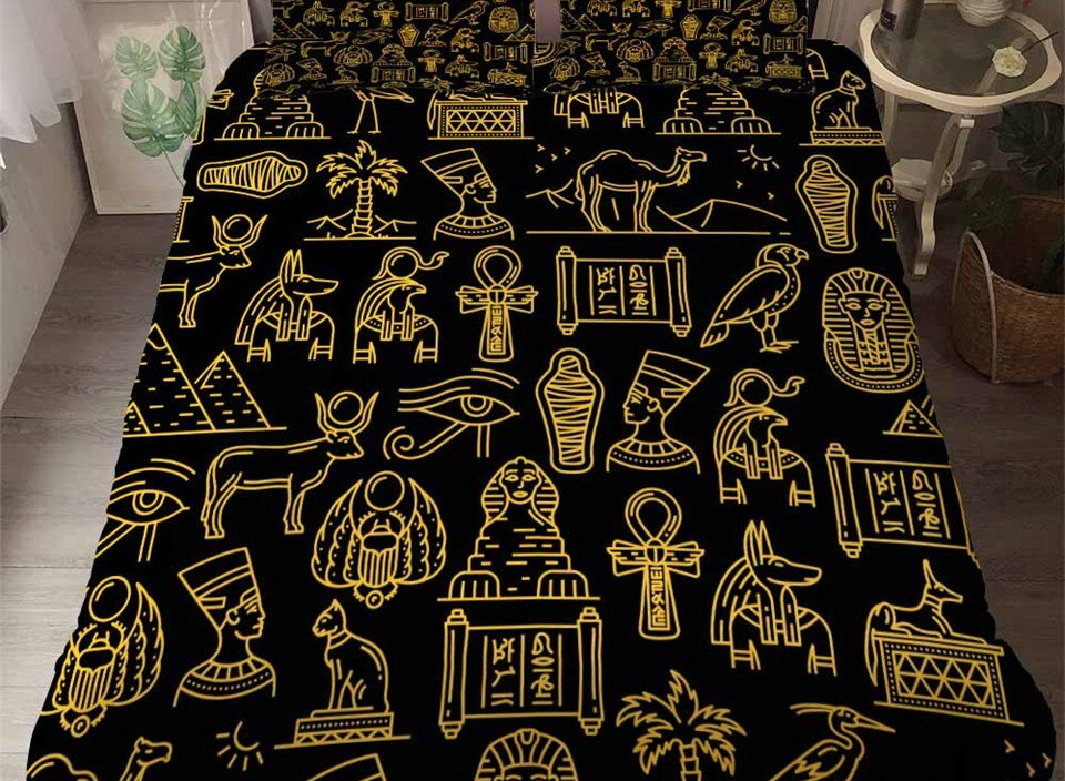Ancient Egypt Culture 3D Bedspread Black Gold Duvet Cover Pillowcase 3 Piece Comforter Bedding Cover Bed Linen With Print