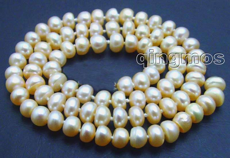 SALE Big 6-7mm high quality Pink Freshwater pearl Loose Beads 14″-los534 Wholesale/retail Free shipping
