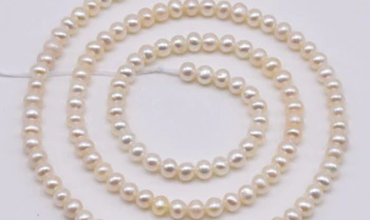 Genuine Freshwater Pearls Loose Beads,White Color 3-4mm Off Round Natural Pearl Jewellery,One Full Strand,Free Shipping