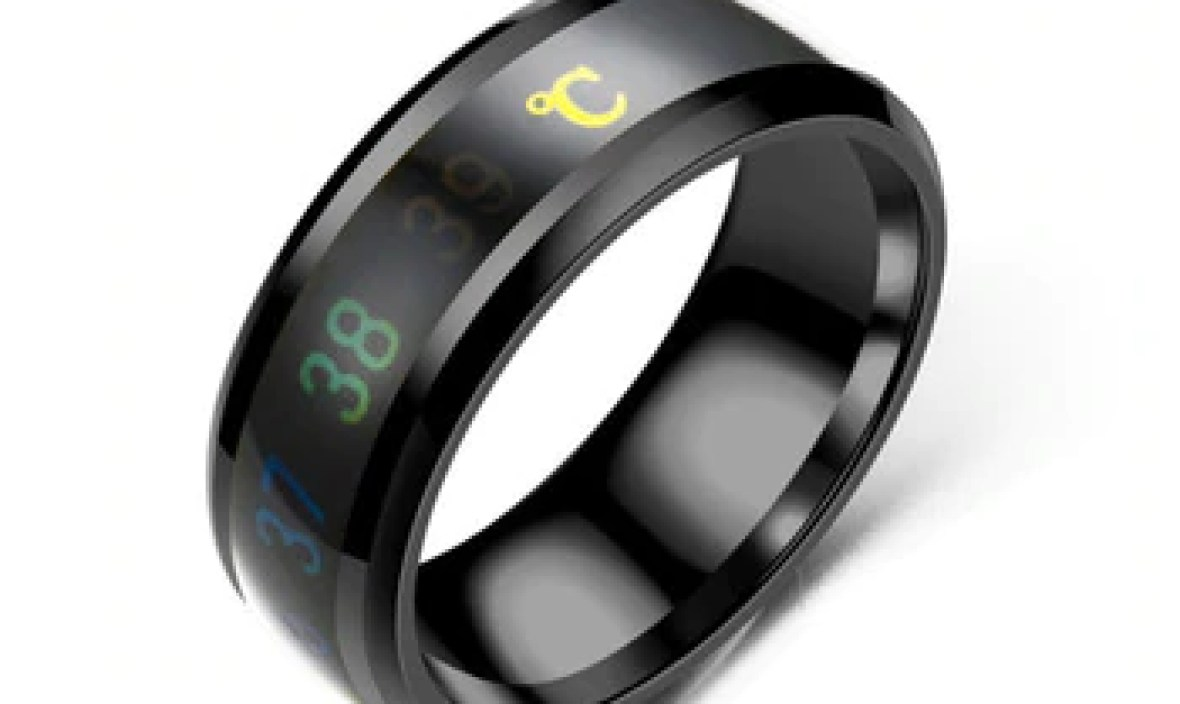 Fashion  Intelligent Thermometer temperature measuring ring Stainless steel simple creative Couple wedding jewelry Dropshipping