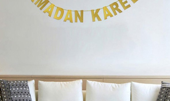 Ramadan Kareem Home Decoration Banner EID MUBARAK Gold String Flag Party Pennant Lesser Bairam Banner Hanging Garland Eid Flag