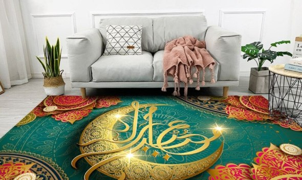 Ramadan Kareem Carpet Area Rugs Lantern Moon Printed Living Room Bedroom Sofa Chair Decor Non-Slip Floor Mats Eid Mubarak Tapete