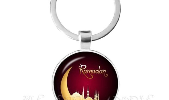 Ramadan Keychain 25mm Glass Dome Cabochon Key Chain Ring Arabic Muslim Islamic God Allah Jewelry  Gift For Friends
