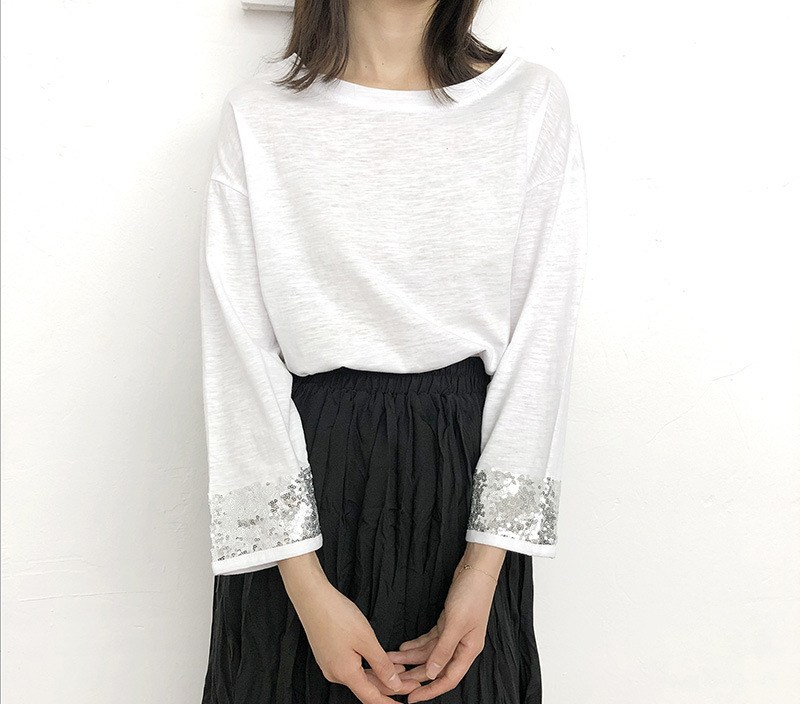 [End of Year Celebration] Three-quarter Sleeve T-shirt Women's Korean-style Loose-Fit Slimming White Top Sequin Panel Sleeve Bas