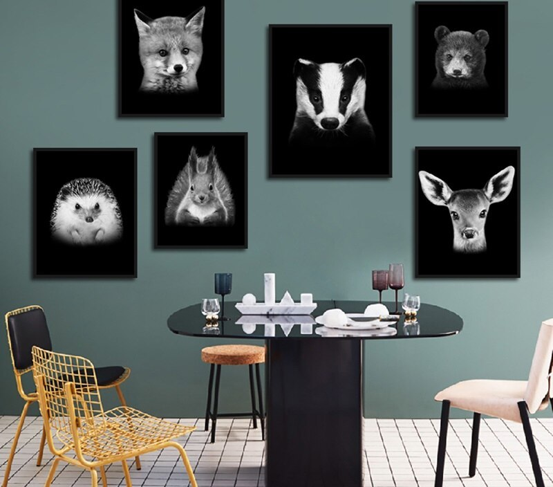 Nordic Minimalist Black And White Animal Art Painting Home Decoration Living Room Background Wall Hanging Picture Frameless