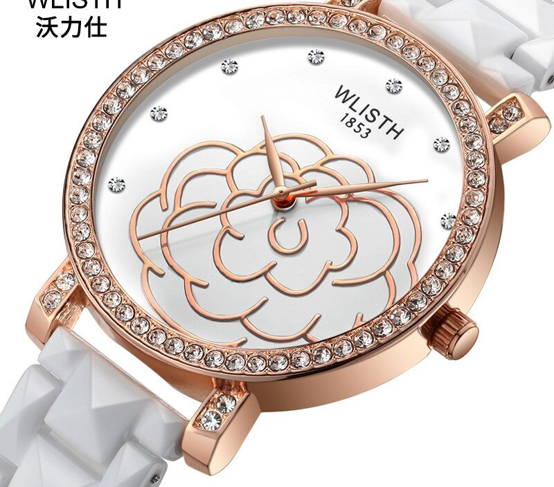 Sales Hot Casual Women Wrist Watches Waterproof White and Rose Gold Diamond Luxury Designer Ceramic Watch Dropshipping A3398