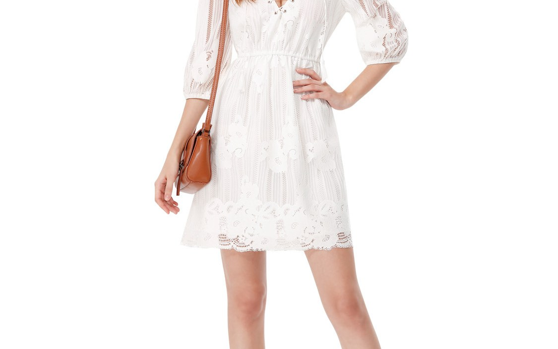 [Sale] Dress Women's 2019 New Style Dress White Lace Embroidery Lantern Sleeve Dress Women's