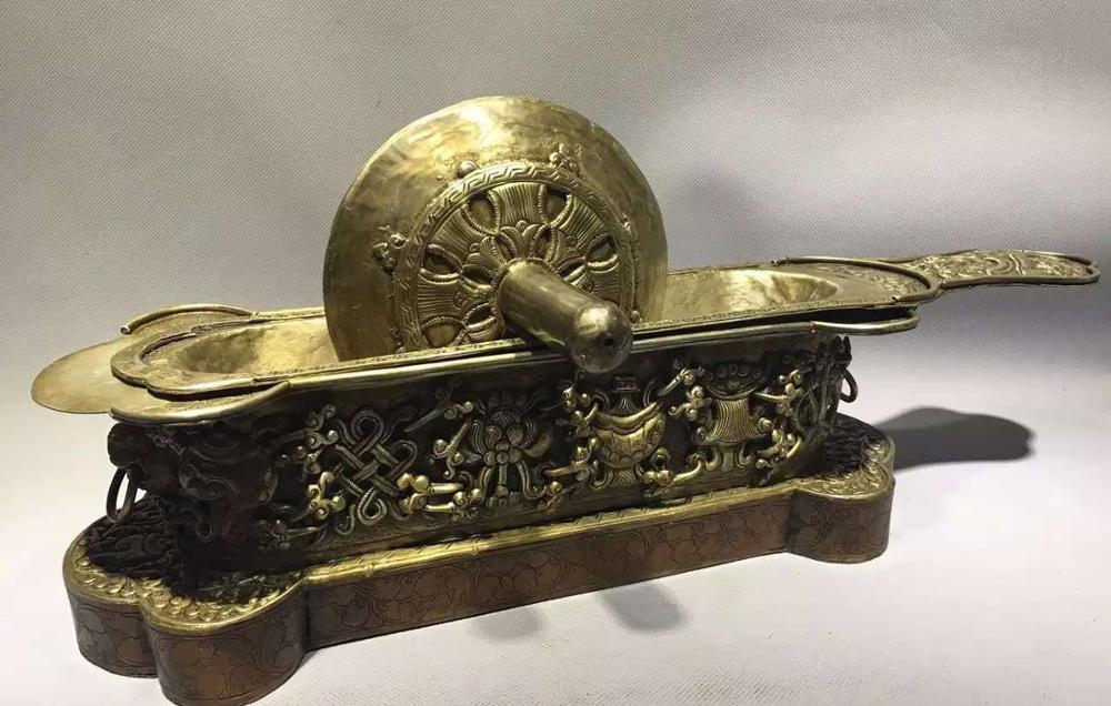 China Tibet Antique Bronze Medical Instrument Drug Wheels Chinese Medicine