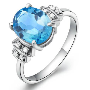 Sale Women Qi Xuan_Blue Stone Elegant Rings_Finger Rings_S925 Solid Silver Fashion Blue Ring_Manufacturer Directly Sales