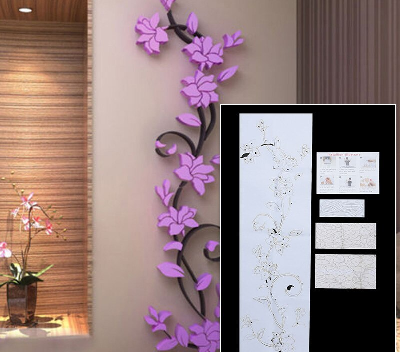 3d Flower Home Wall Decor Vinyl Removable Sticker Quote Bar Diy Home Design