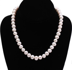 Sale Fashion 9-10mm Natural Cultured Round Freshwater Pearl Necklace 18 Inches
