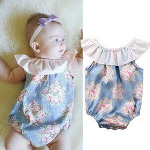 Low Price Sale Clearance At The End Of The Year Cute Newborn Baby Girl Floral Jumpsuit Bodysuit Clothes Outfits Summer