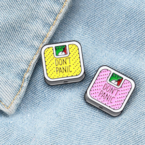 Weight Loss Pins Don't Panic Brooch Lapel Pin Denim Jeans Shirt Bag Funny Jewelry Gift for Girl Friends