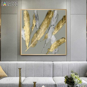 Golden Feathers Wall Art Canvas Painting Nordic Living Room Decoration Home Pictures for Home Design Posters and Prints Decor